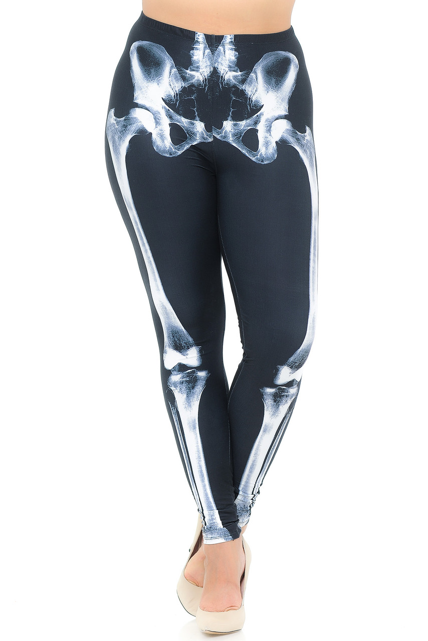 Front view image of Creamy Soft X-Ray Skeleton Bones Plus Size Leggings - USA Fashion™ featuring a mid rise elastic comfort stretch waistband.