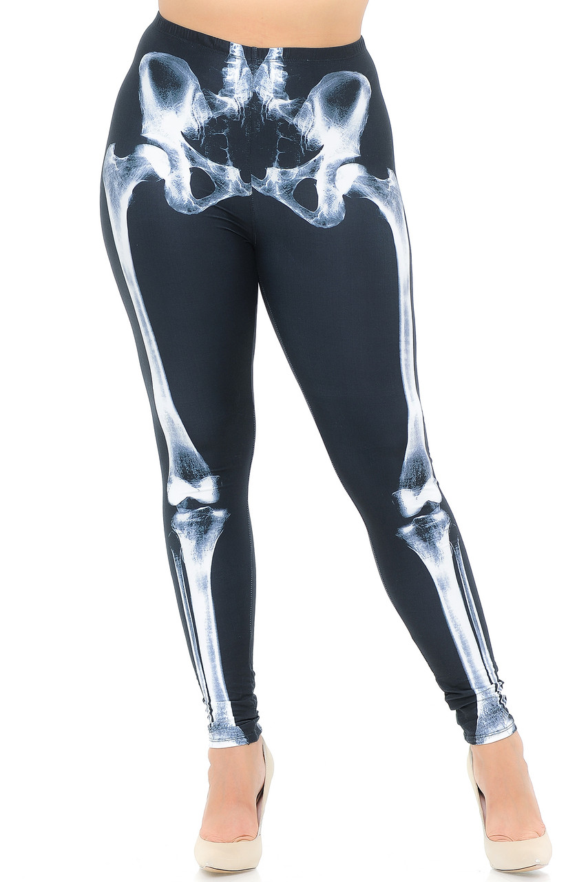 Front view image of our full length skinny leg cut Creamy Soft X-Ray Skeleton Bones Extra Plus Size Leggings - USA Fashion™