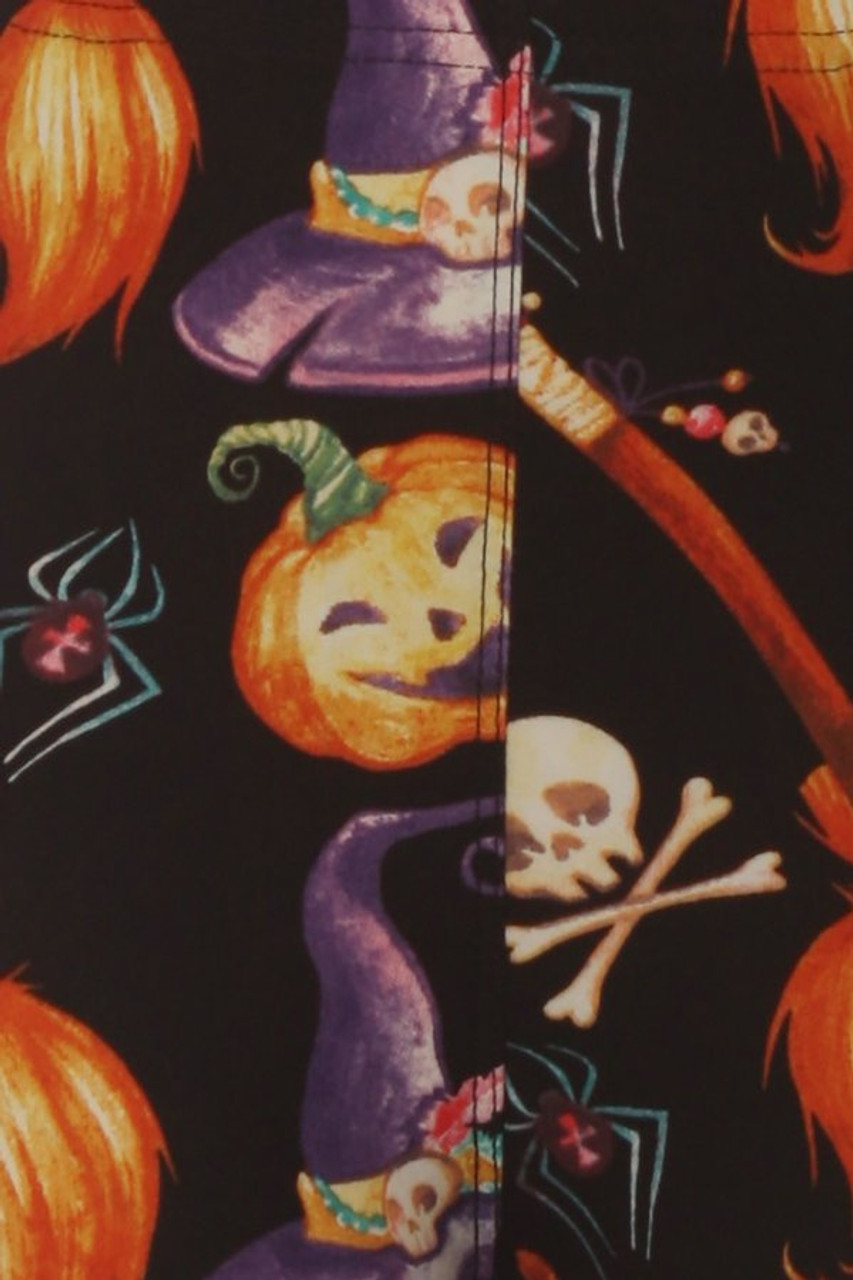 Second close up fabric swatch of Buttery Soft Pumpkins Witch's Watercolor Halloween Plus Size Leggings