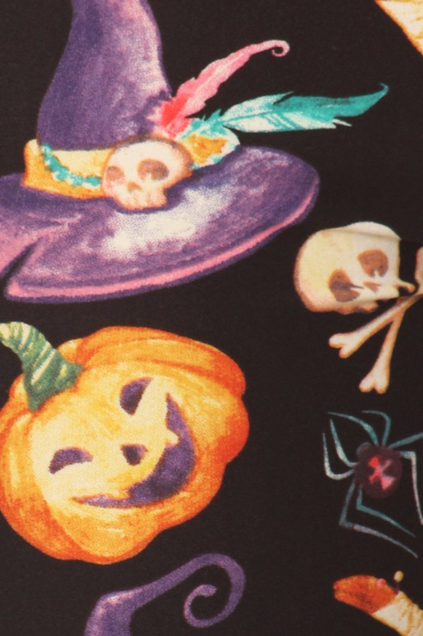 Close up fabric swatch of Buttery Soft Pumpkins Witch's Watercolor Halloween Plus Size Leggings
