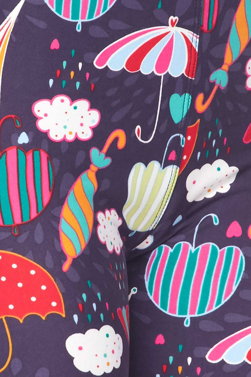 Close up fabric swatch of Buttery Soft Vintage Umbrella Extra  Plus Size Leggings - 3X-5X