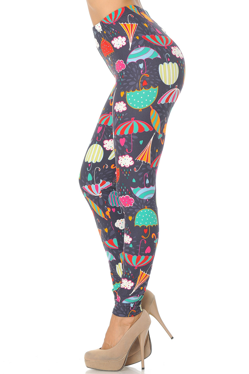 Left side view image of Buttery Soft Vintage Umbrella Extra  Plus Size Leggings - 3X-5X