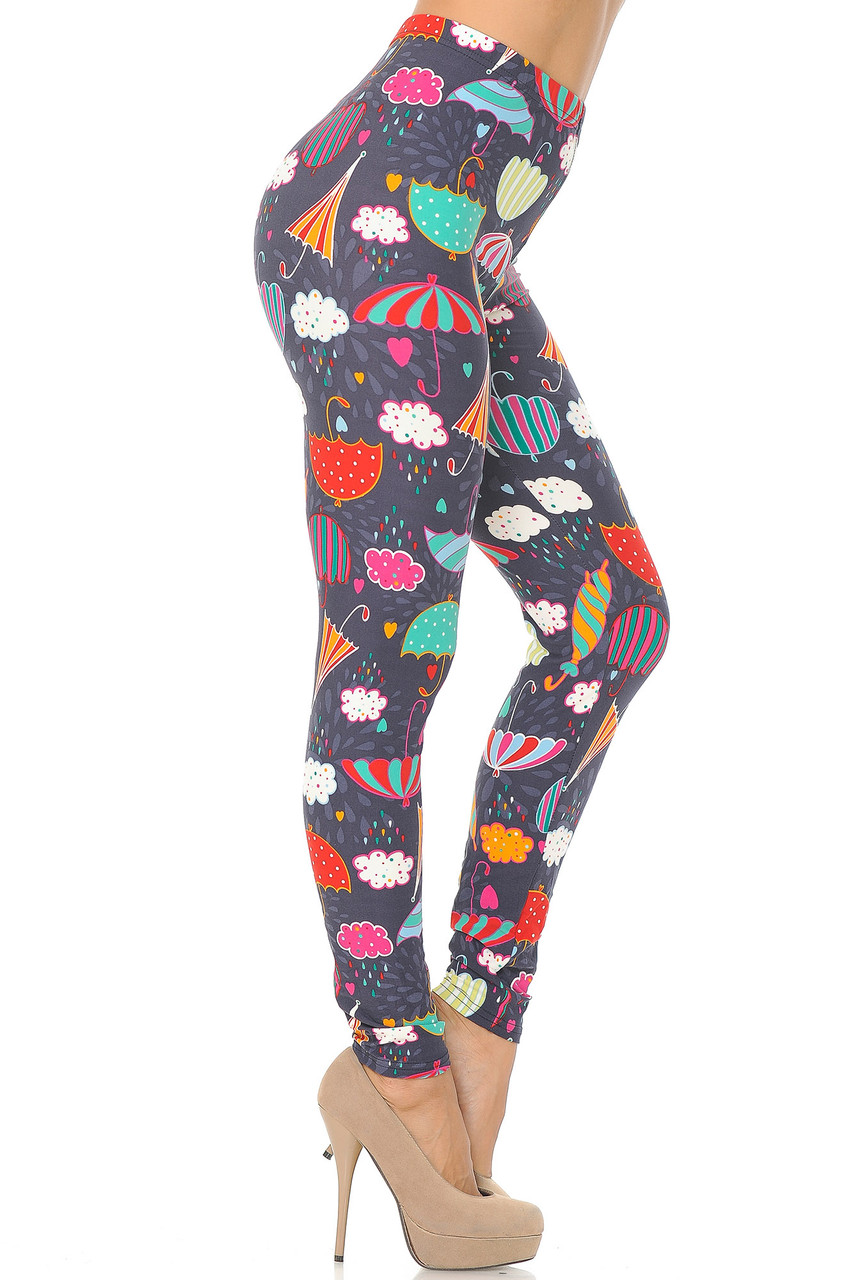 Right side view image of Buttery Soft Vintage Umbrella Extra  Plus Size Leggings
