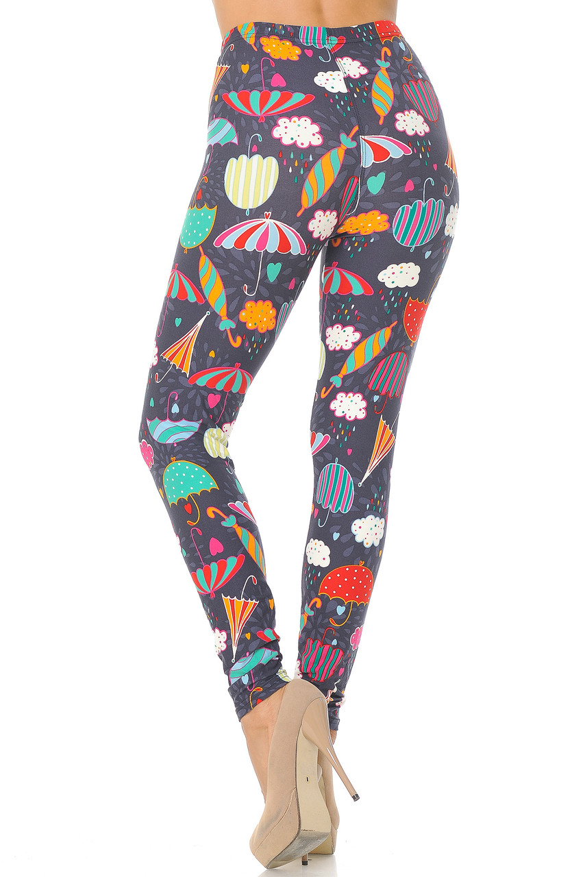 Rear view image of Buttery Soft Vintage Umbrella Extra  Plus Size Leggings - 3X-5X