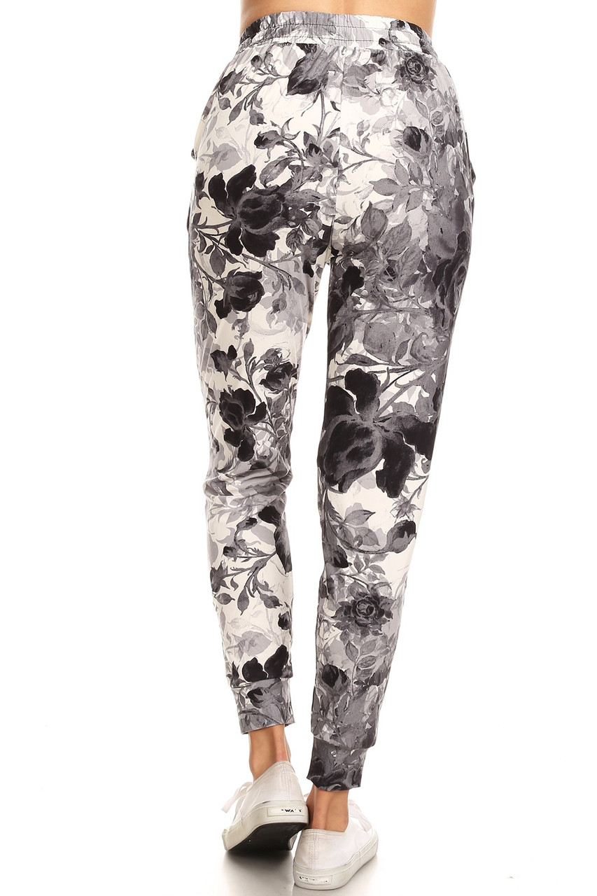 Rear view image of our relaxed fit Buttery Soft Black and White Floral Joggers