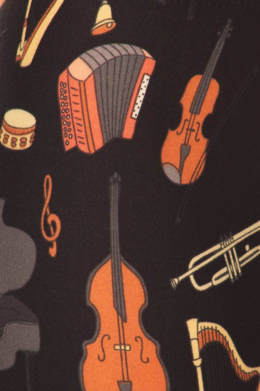 Close up fabric swatch of Buttery Soft Musical Instrument High Waisted Plus Size Leggings