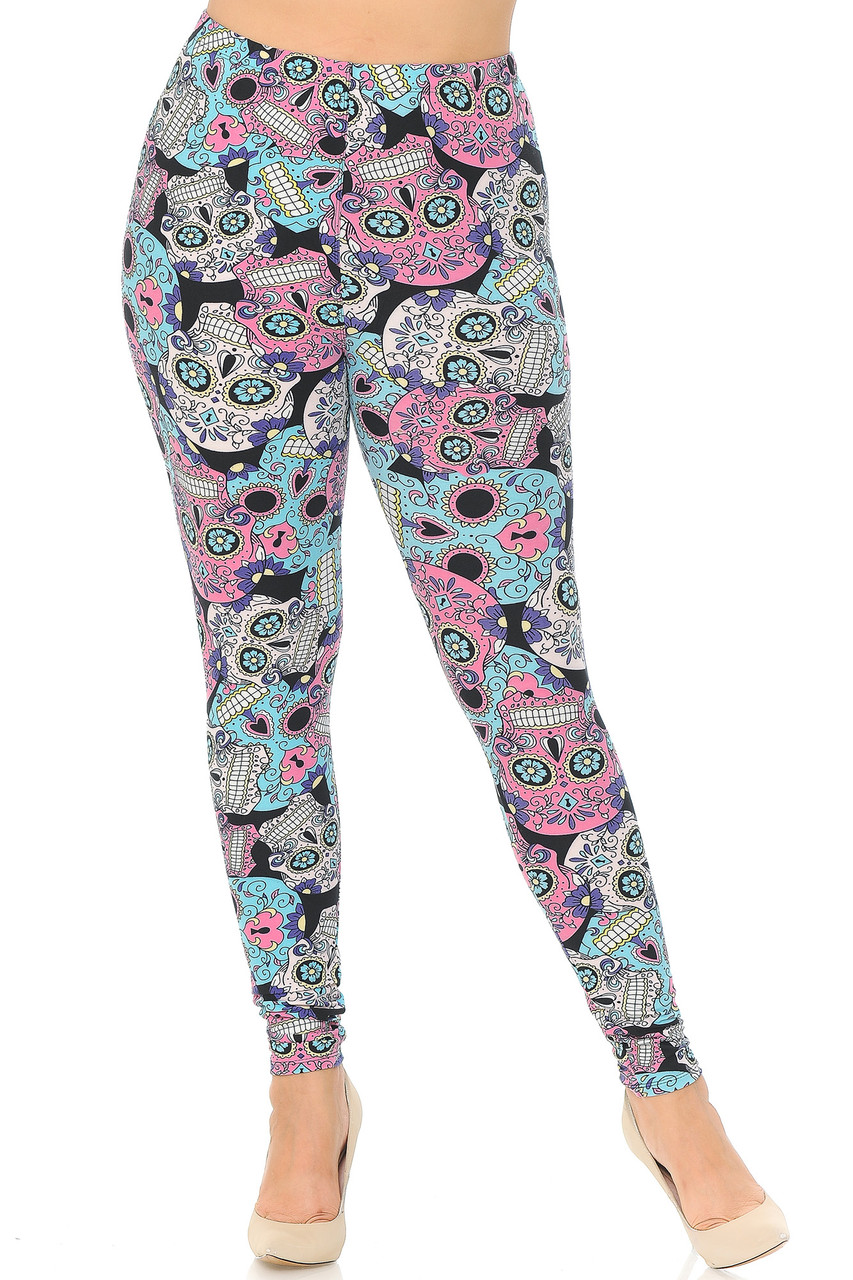 Front view image of our mid rise Buttery Soft Pastel Sugar Skull Plus Size Leggings with a full length skinny leg cut.
