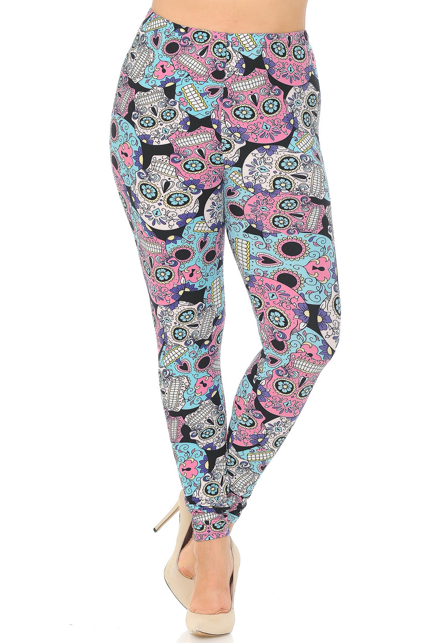 Front view image of Buttery Soft Pastel Sugar Skull Extra Plus Size Leggings - 3X-5X