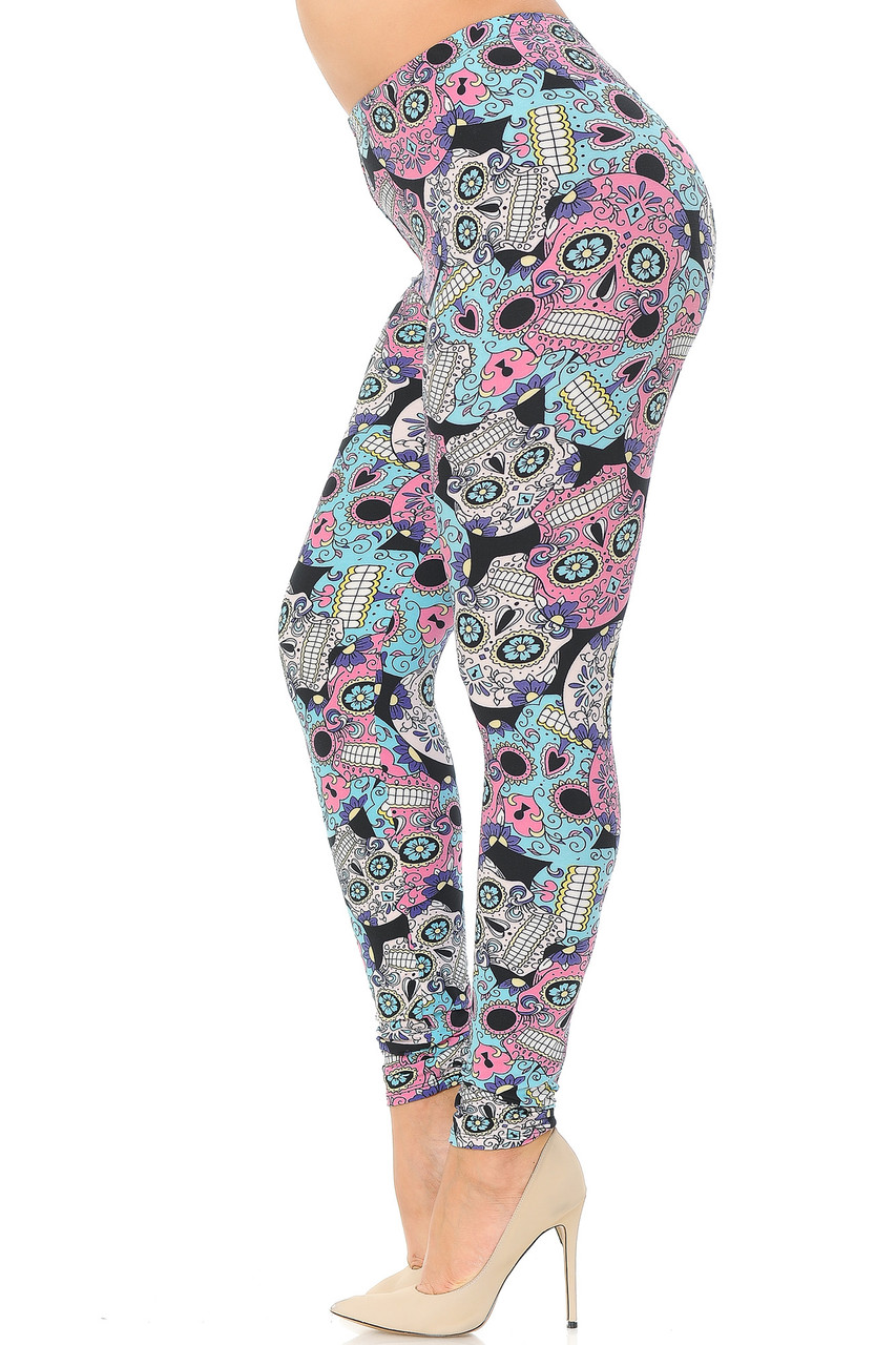 Left side view image of Buttery Soft Pastel Sugar Skull Extra Plus Size Leggings - 3X-5X