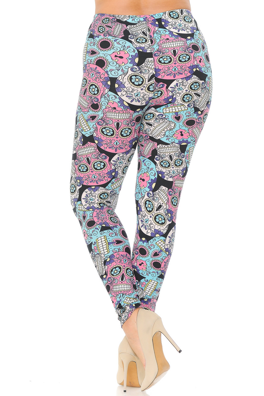 Rear view image of Buttery Soft Pastel Sugar Skull Extra Plus Size Leggings - 3X-5X
