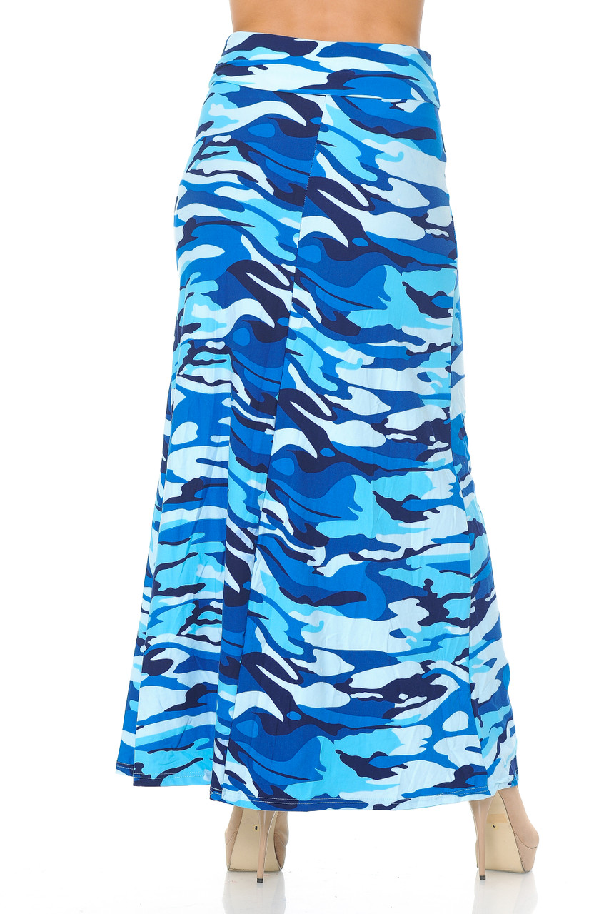 Rear view image of Buttery Soft Blue Camouflage Maxi Skirt with a past ankle length cut depending on height.