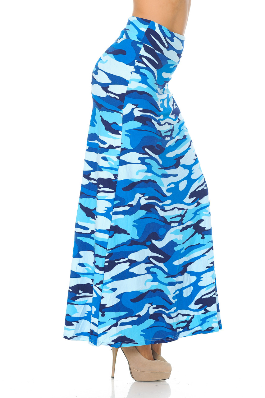 Right side view image of our bold and colorful Buttery Soft Blue Camouflage Maxi Skirt