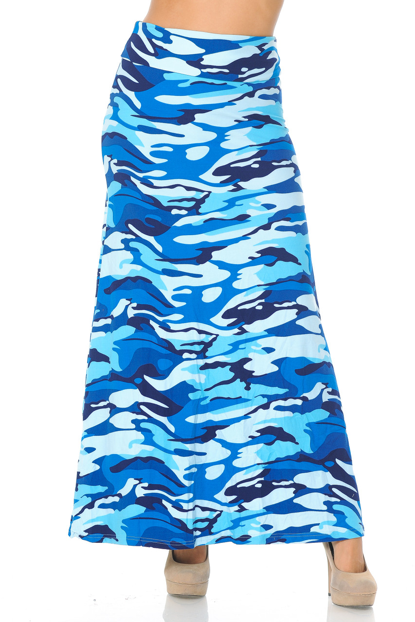 Front view image of our Buttery Soft Blue Camouflage Maxi Skirt featuring a high comfort fabric waist.