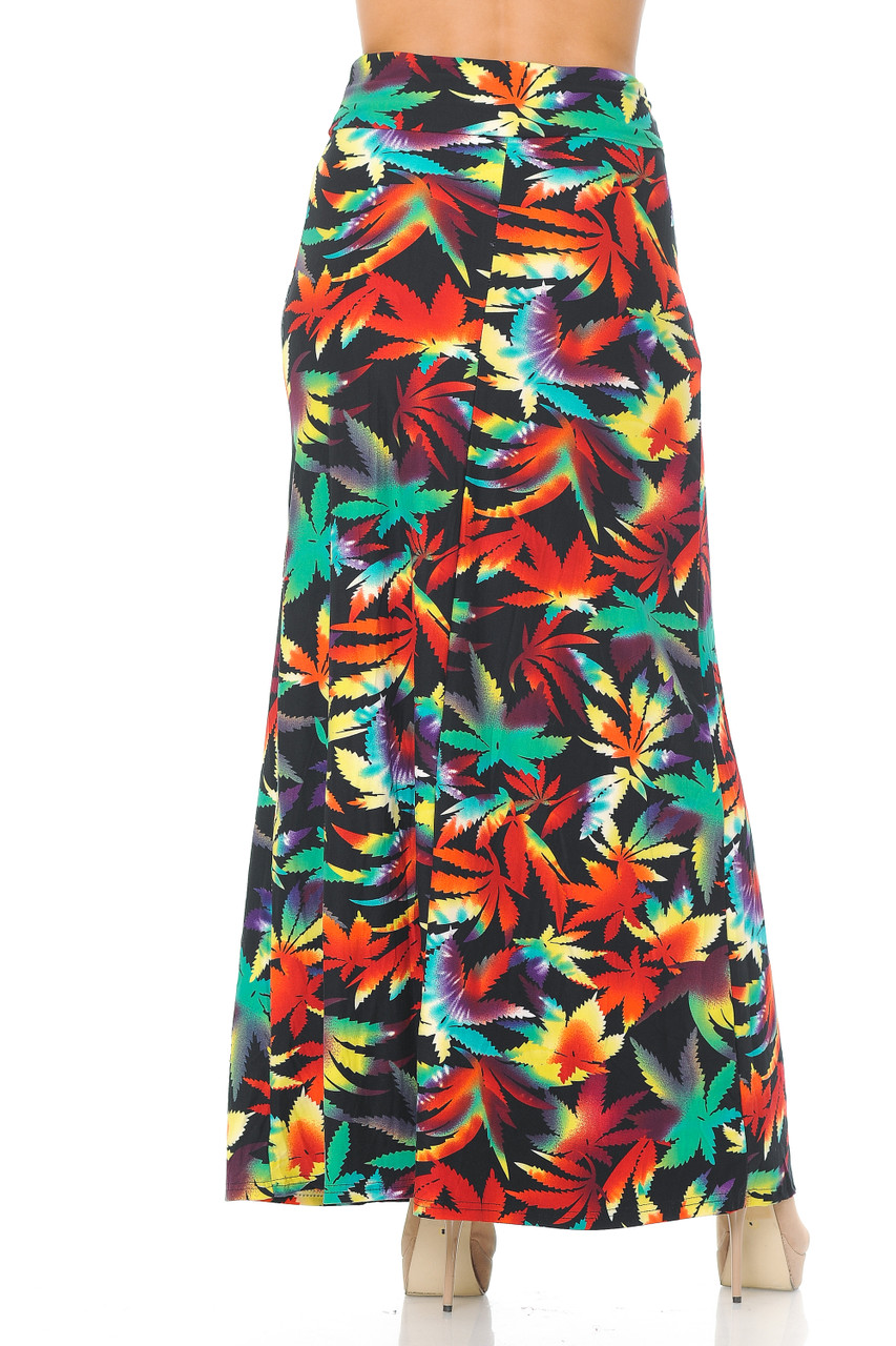 Rear view image of Buttery Soft Rainbow Marijuana Maxi Skirt featuring a past ankle length cut depending on height.