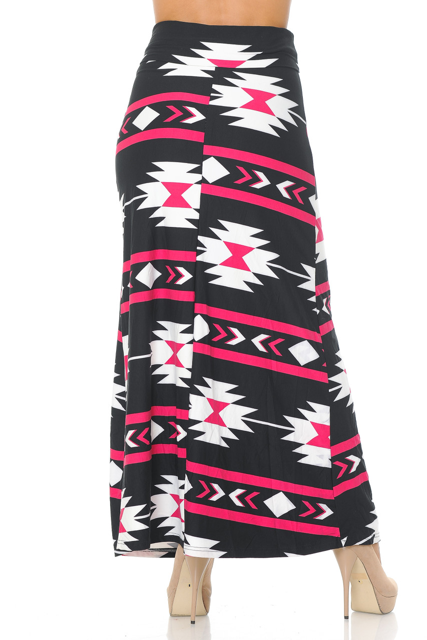 Rear view image of Buttery Soft Magenta Aztec Tribal Maxi Skirt featuring a past ankle length cut depending on height.