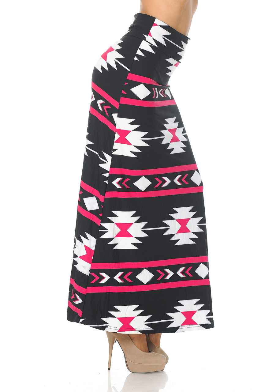 Right side view image of our Buttery Soft Mint on Black Aztec Tribal Maxi Skirt with an eye-catching look for any season.