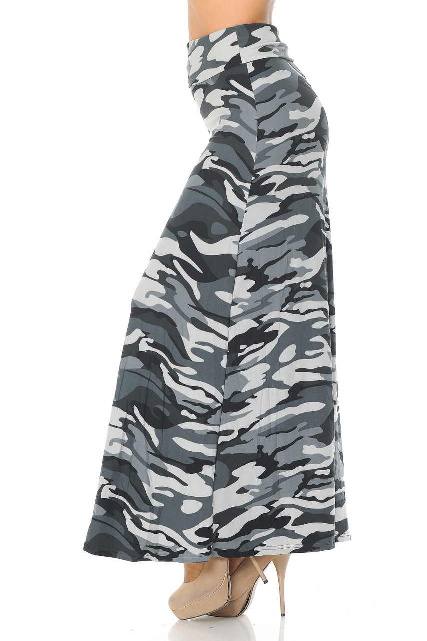 Left side view image of Buttery Soft Charcoal Camouflage Maxi Skirt featuring an all over gray toned monochromatic army print design.