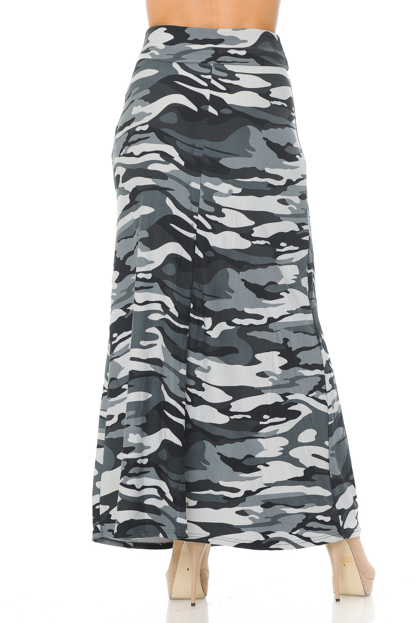 Rear view image of Buttery Soft Charcoal Camouflage Maxi Skirt with a past ankle length cut depending on height.