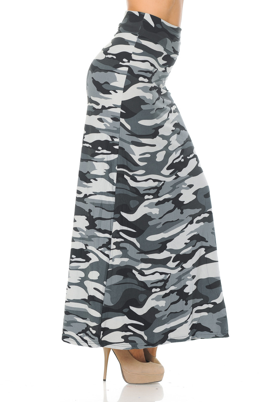 Right side view image of Buttery Soft Charcoal Camouflage Maxi Skirt that pairs well with bodysuits and tops of any color for any season.