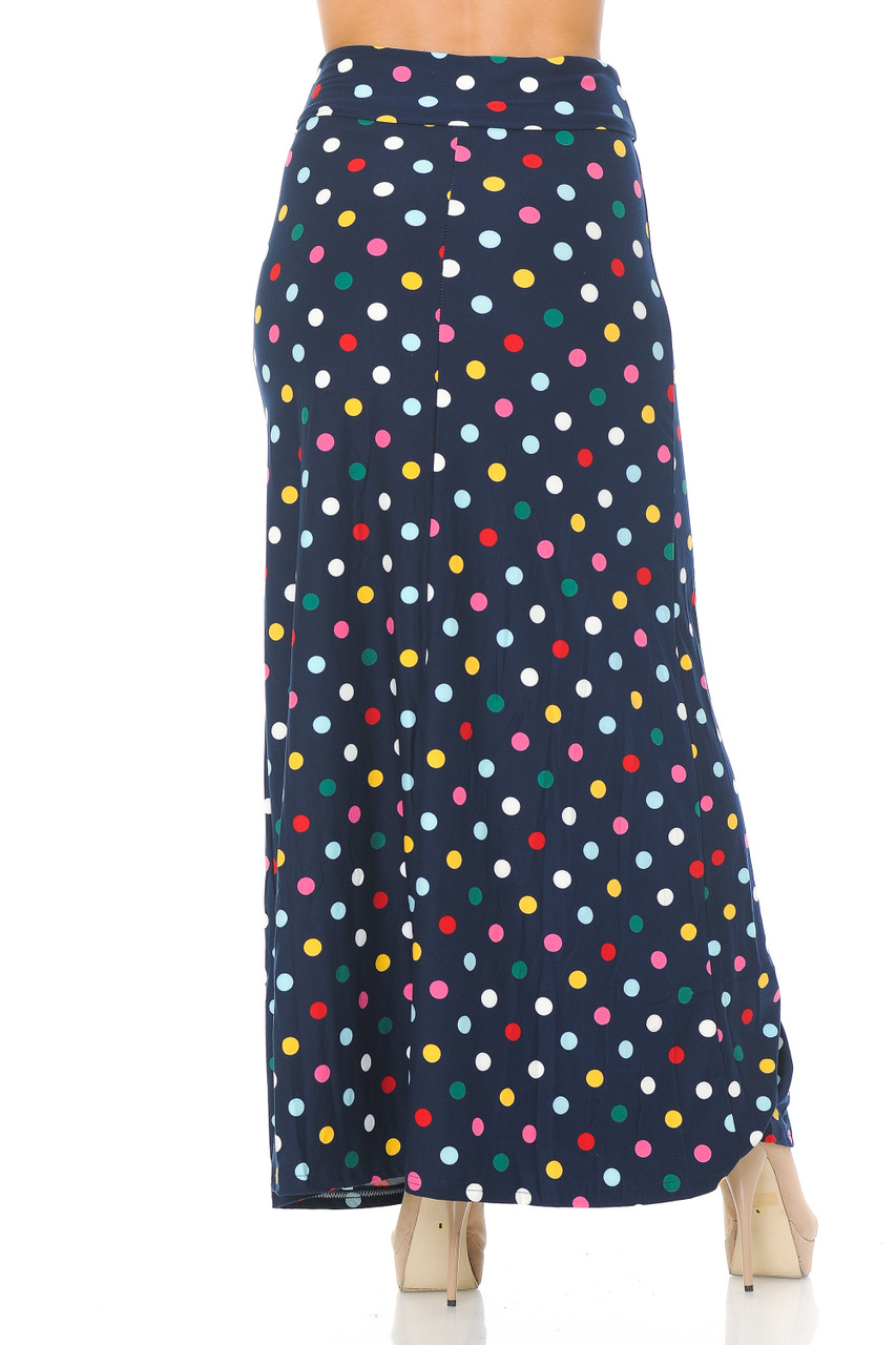 Rear view image of Buttery Soft Colorful Polka Dot Maxi Skirt featuring a past ankle length cut depending on height.