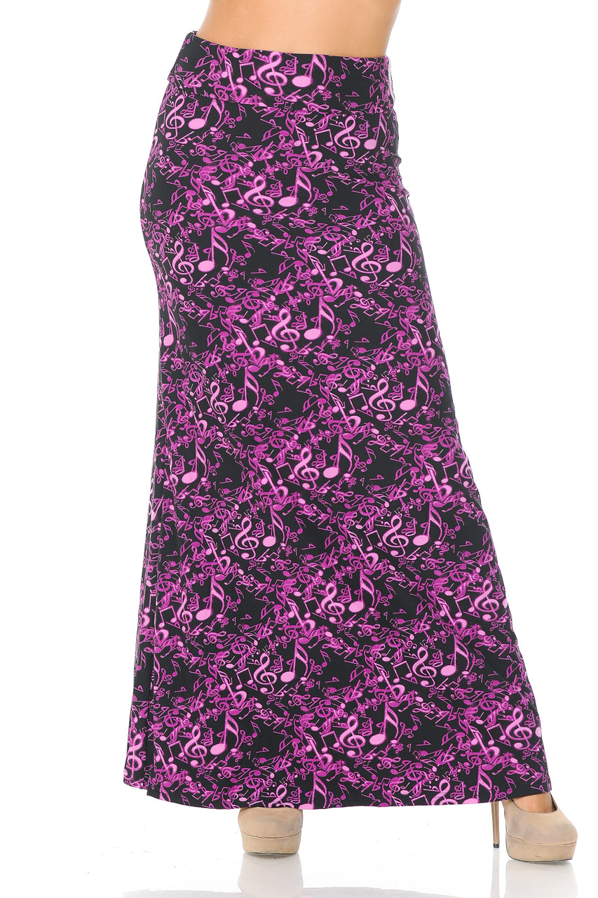 Front view image of Buttery Soft Electric Fuchsia Music Note Maxi Skirt featuring a high comfort fabric waist.
