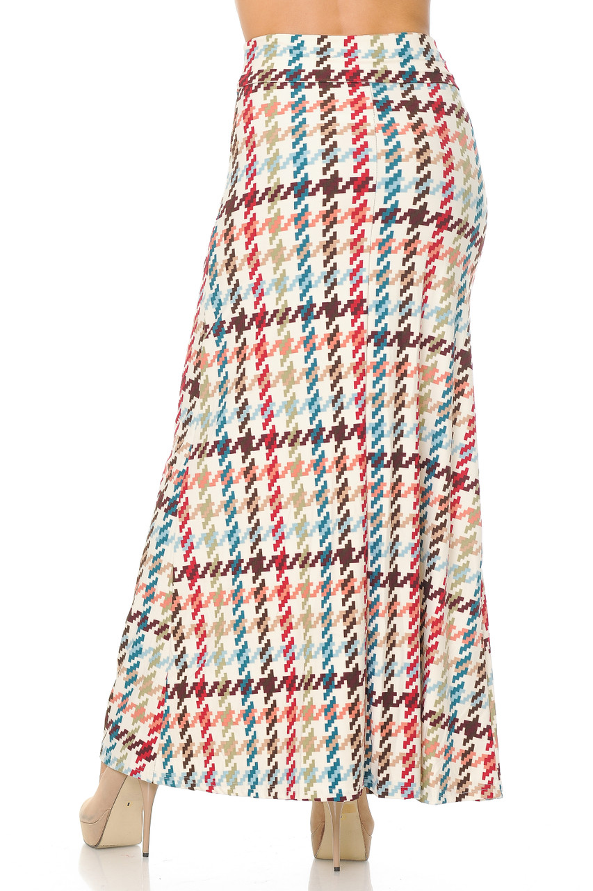 Rear view image of Buttery Soft Earth Tone Pixel Zags Maxi Skirt that comes down to past ankle length depending on height.