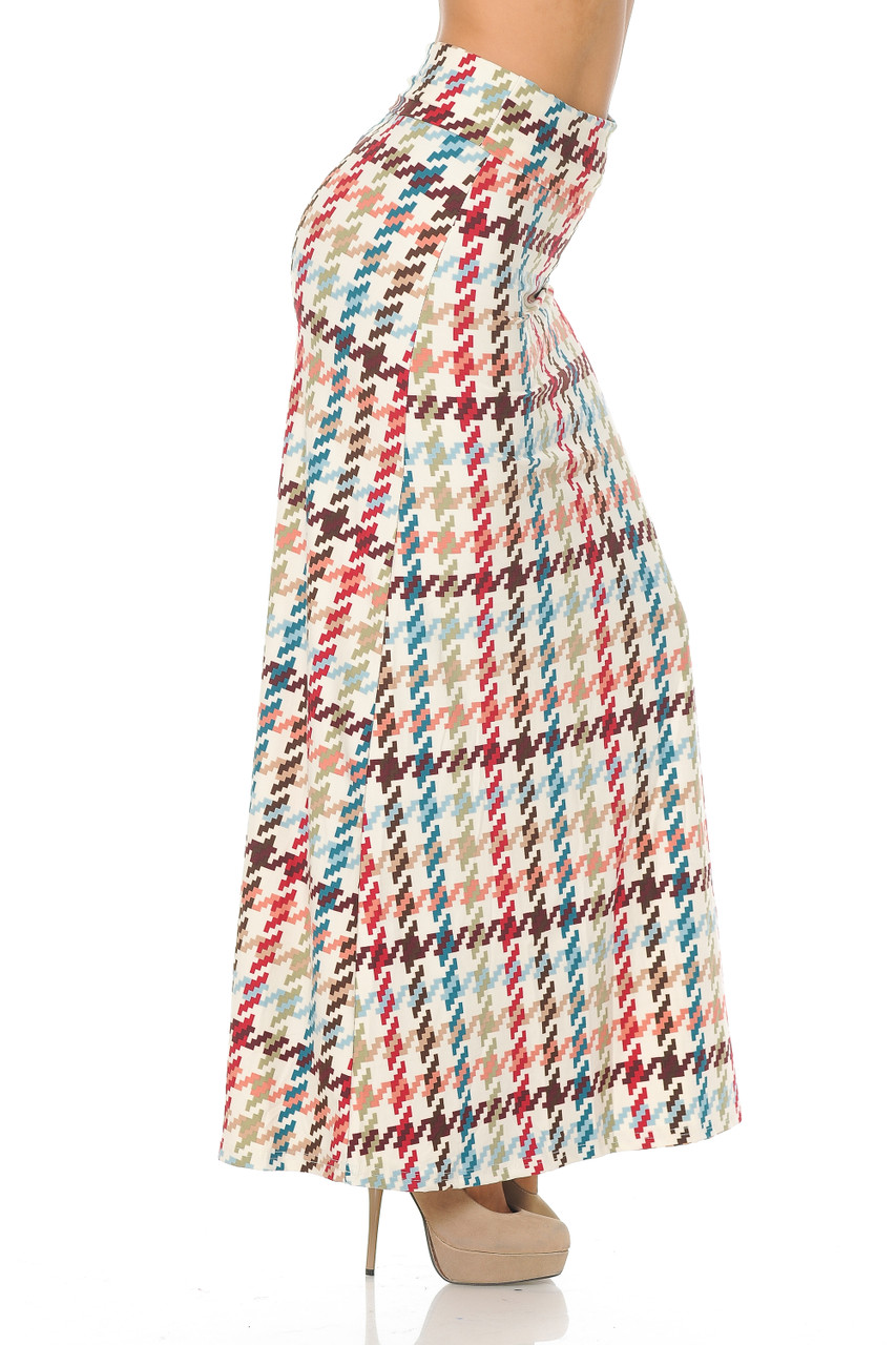 Right side view image of Buttery Soft Earth Tone Pixel Zags Maxi Skirt