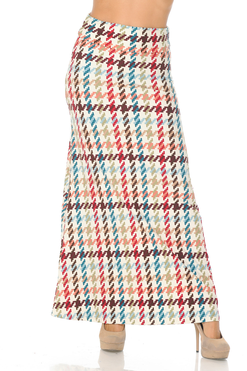 Front view image of Buttery Soft Earth Tone Pixel Zags Maxi Skirt with a comfort fabric waist.