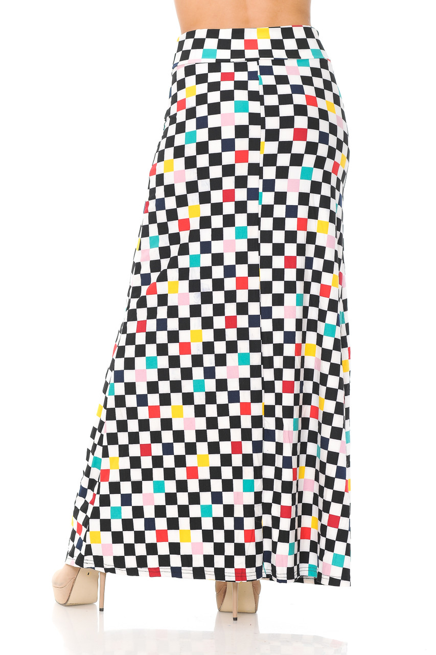 Rear view image of our Buttery Soft Color Accent Checkered Maxi Skirt that goes down past ankles depending on height.