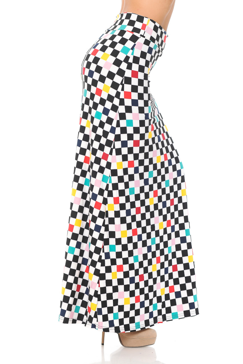 Right side view image of Buttery Soft Color Accent Checkered Maxi Skirt