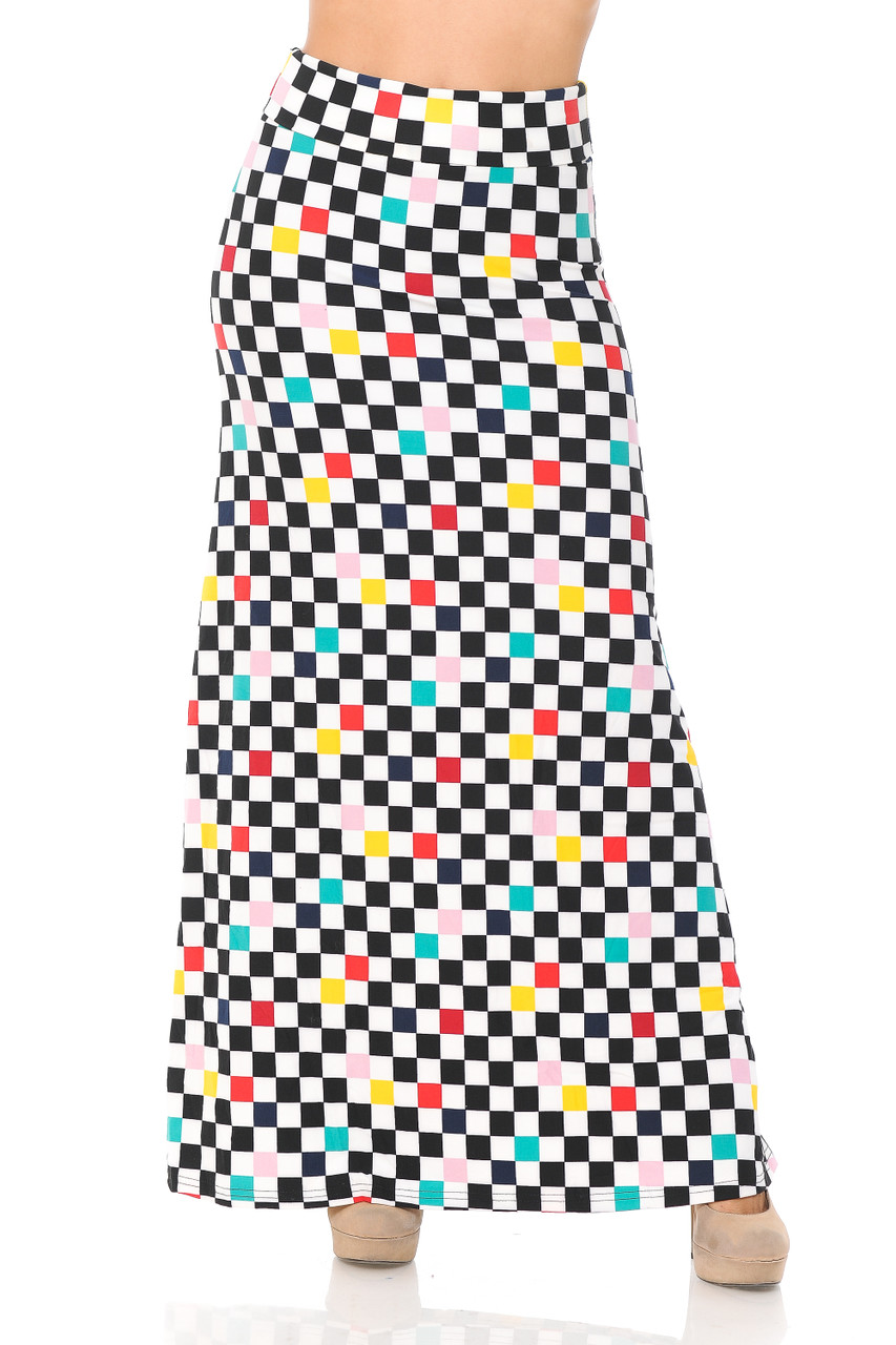 Front view image of Buttery Soft Color Accent Checkered Maxi Skirt with a high comfort fabric waist.