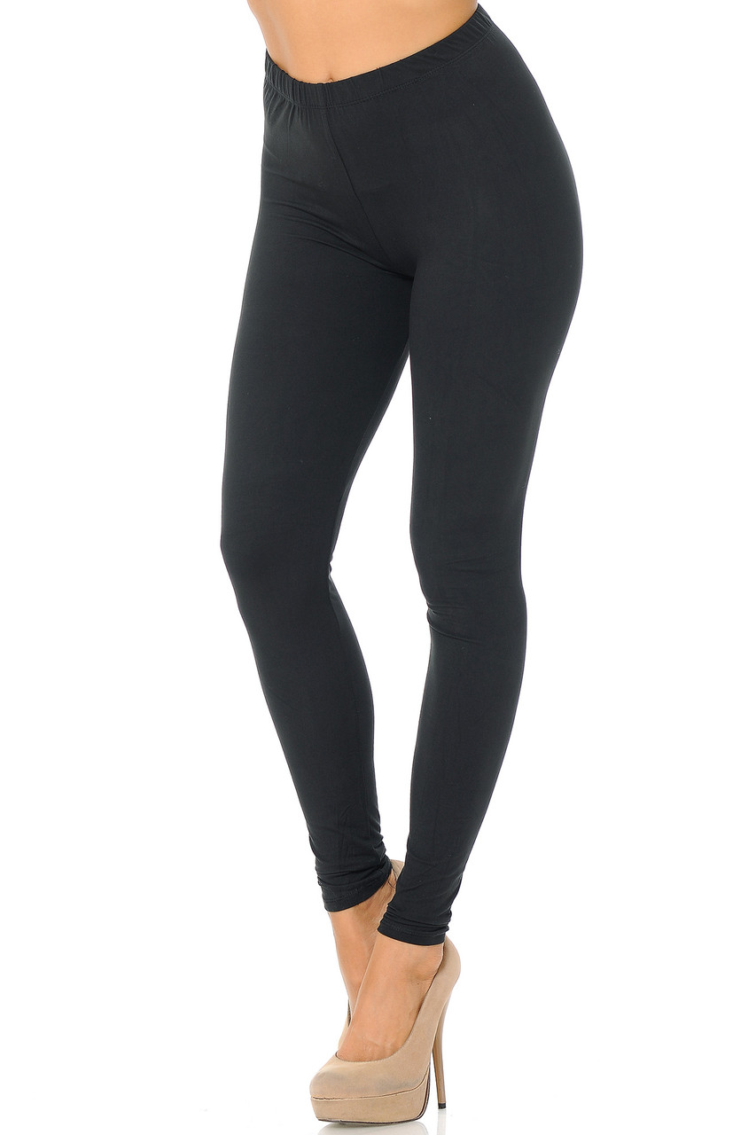 Partial front/left side view image of Black Buttery Soft Basic Solid Leggings - EEVEE