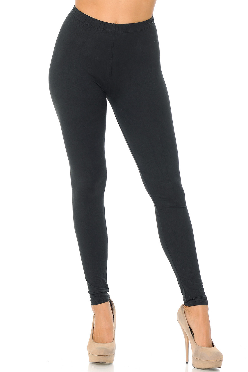 Front view image of Black Front Buttery Soft Basic Solid Leggings - EEVEE