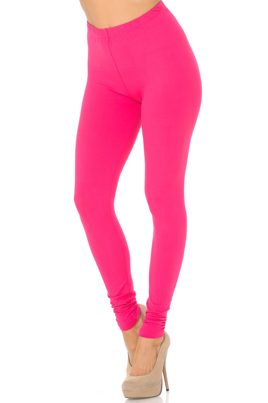 Partial front/left side view image of Fuchsia Buttery Soft Basic Solid Leggings - EEVEE