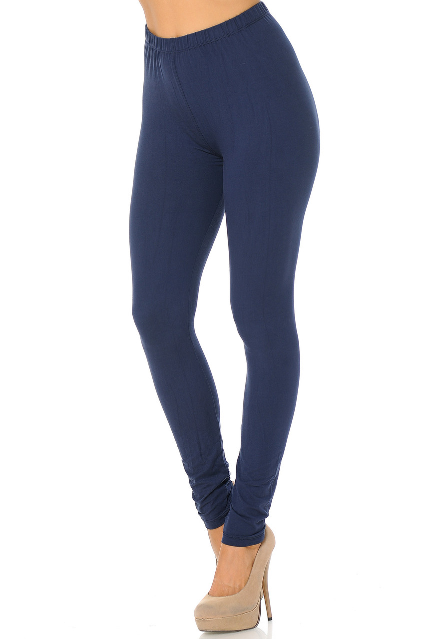 Partial front/left side view image of Navy Buttery Soft Basic Solid Leggings - EEVEE
