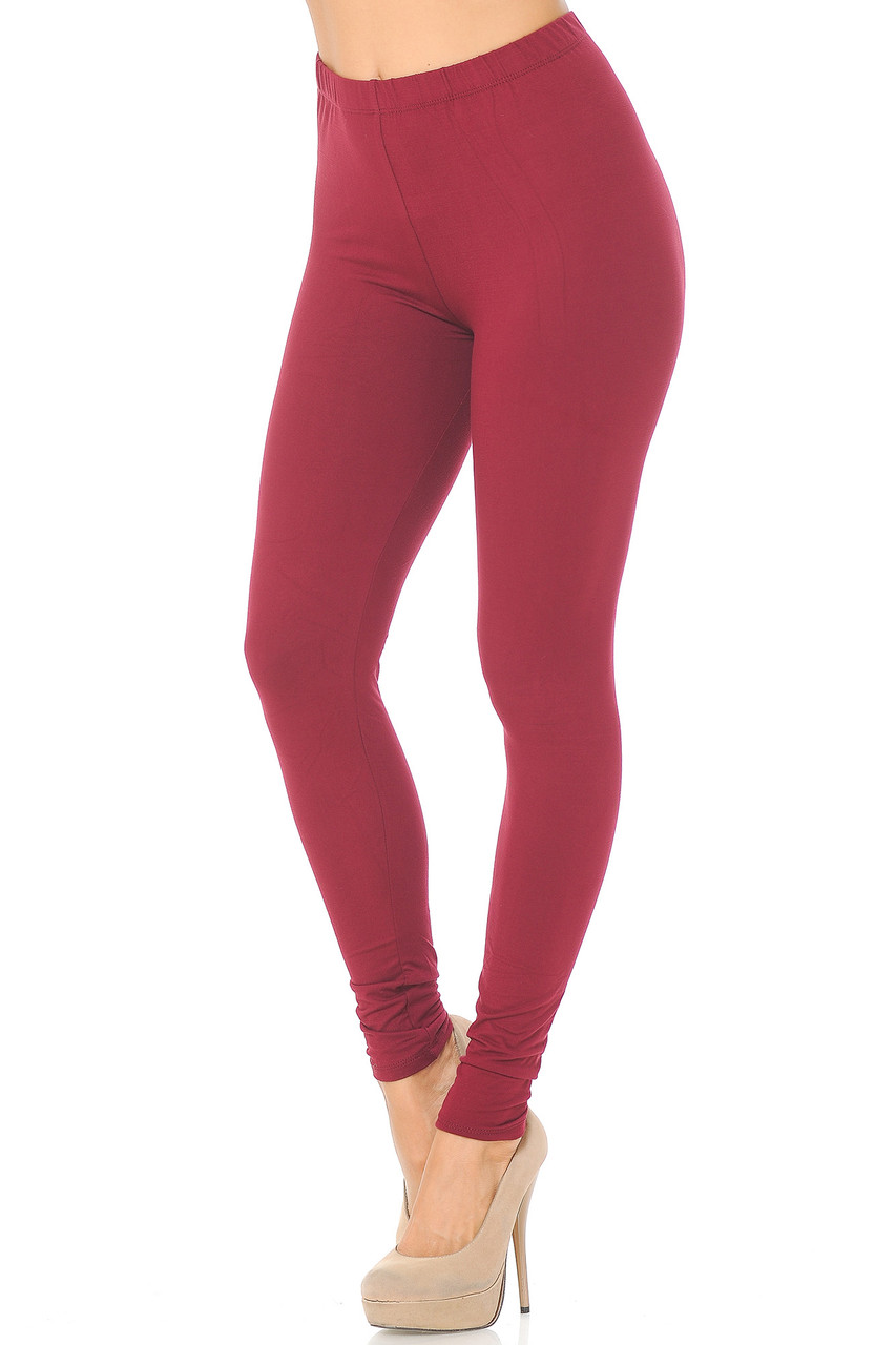 Partial front/left side view image of Burgundy Buttery Soft Basic Solid Leggings - EEVEE
