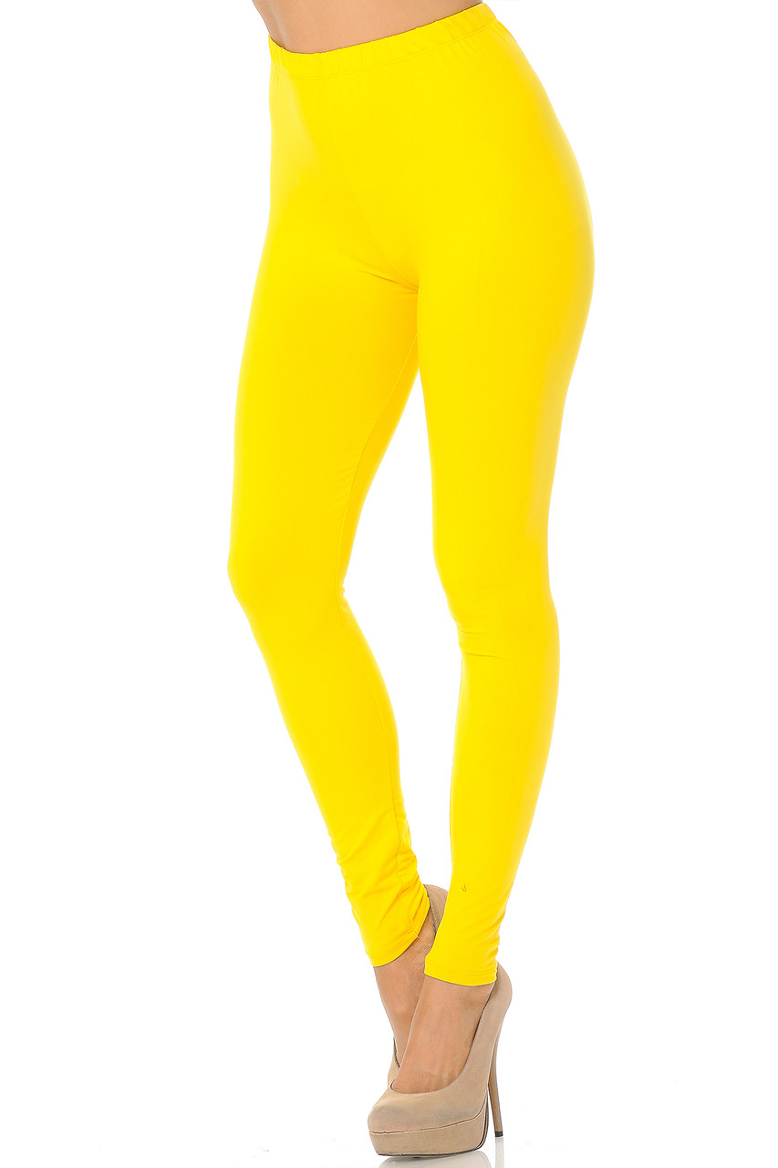 Partial front/left side view image of Yellow Buttery Soft Basic Solid Leggings - EEVEE