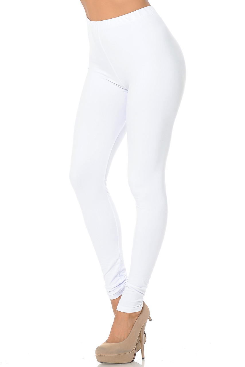 Partial front/left side view image of White Buttery Soft Basic Solid Leggings - EEVEE