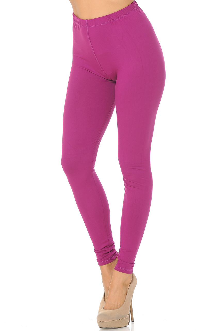 Partial front/left side view image of Magenta Buttery Soft Basic Solid Leggings - EEVEE