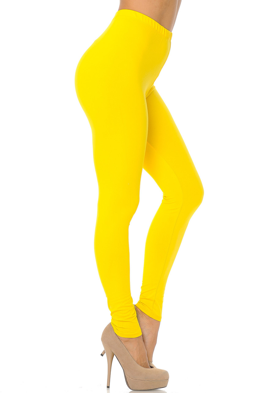 Right side view image of Yellow Buttery Soft Basic Solid Leggings - EEVEE