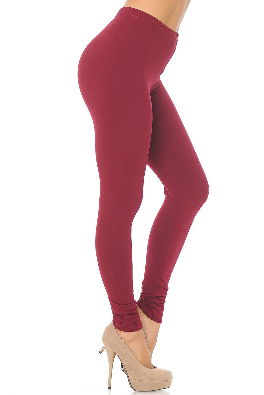 Right side view image of Burgundy Buttery Soft Basic Solid Leggings - EEVEE