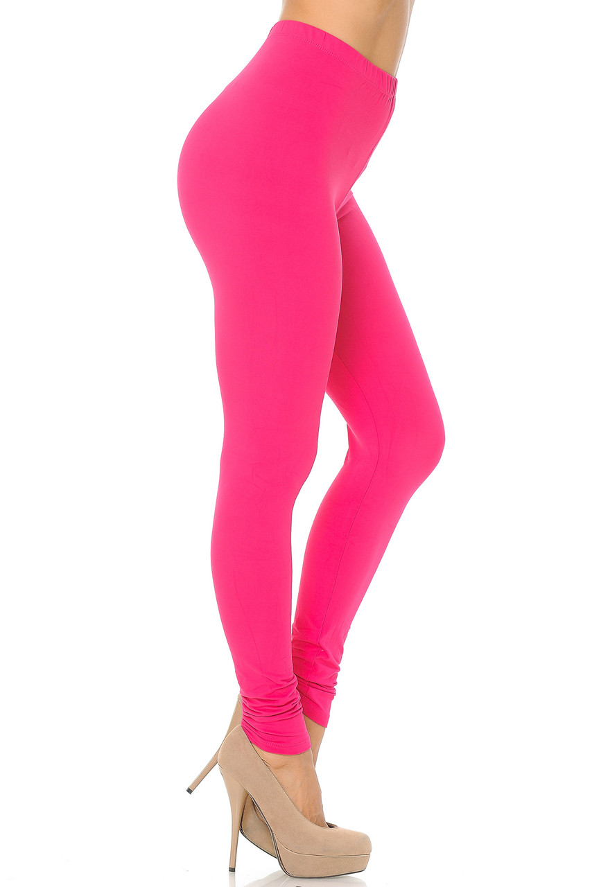 Right side view image of Fuchsia Buttery Soft Basic Solid Leggings - EEVEE