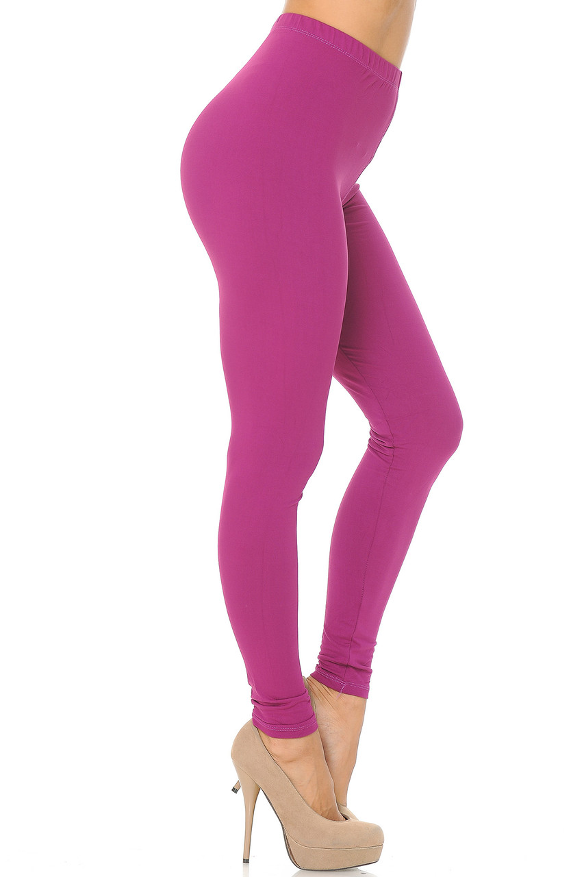 Right side view image of Magenta Buttery Soft Basic Solid Leggings - EEVEE