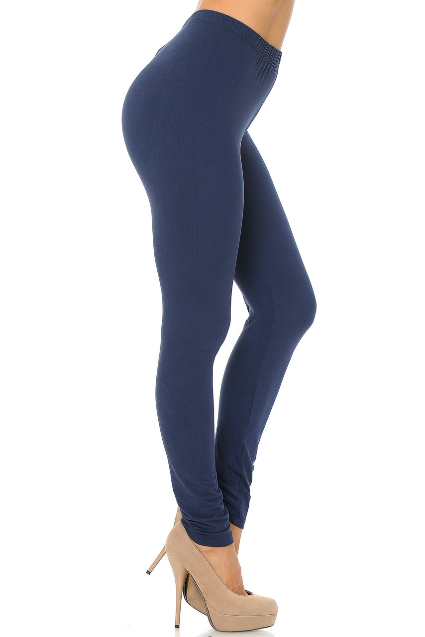 Right side view image of Navy Buttery Soft Basic Solid Leggings - EEVEE