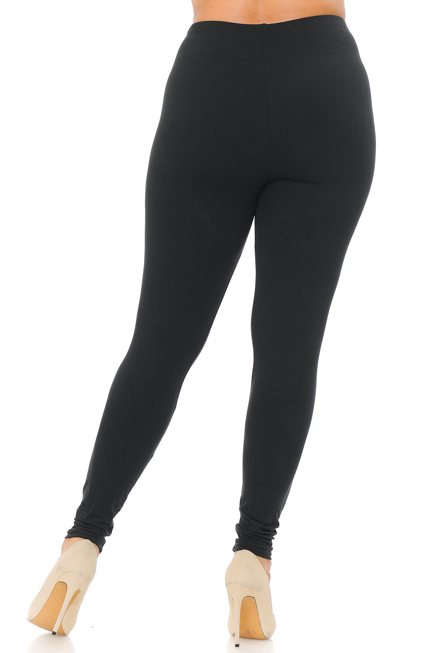 Rear view image of Black Back Buttery Soft Basic Solid Plus Size Leggings - EEVEE