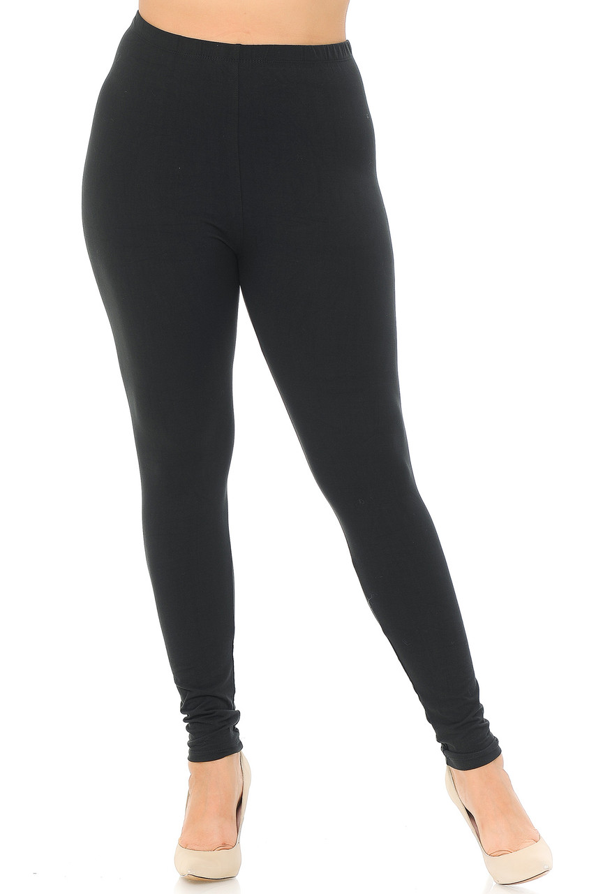 Front view image of Black Front Buttery Soft Basic Solid Plus Size Leggings - EEVEE