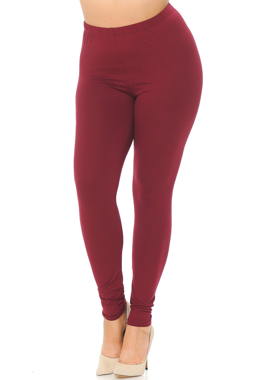 Angled Front view image of Burgundy Main Buttery Soft Basic Solid Plus Size Leggings - EEVEE