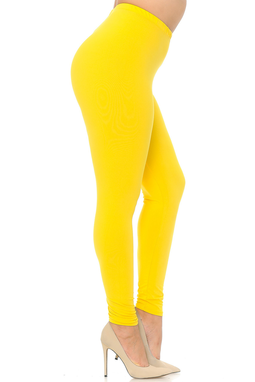 Right side view image of Yellow Buttery Soft Basic Solid Plus Size Leggings - EEVEE
