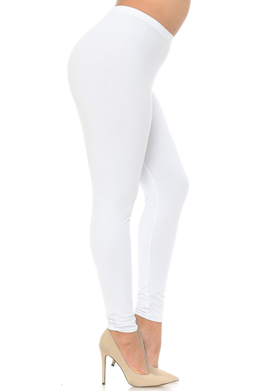 Right side view image of White Buttery Soft Basic Solid Plus Size Leggings - EEVEE