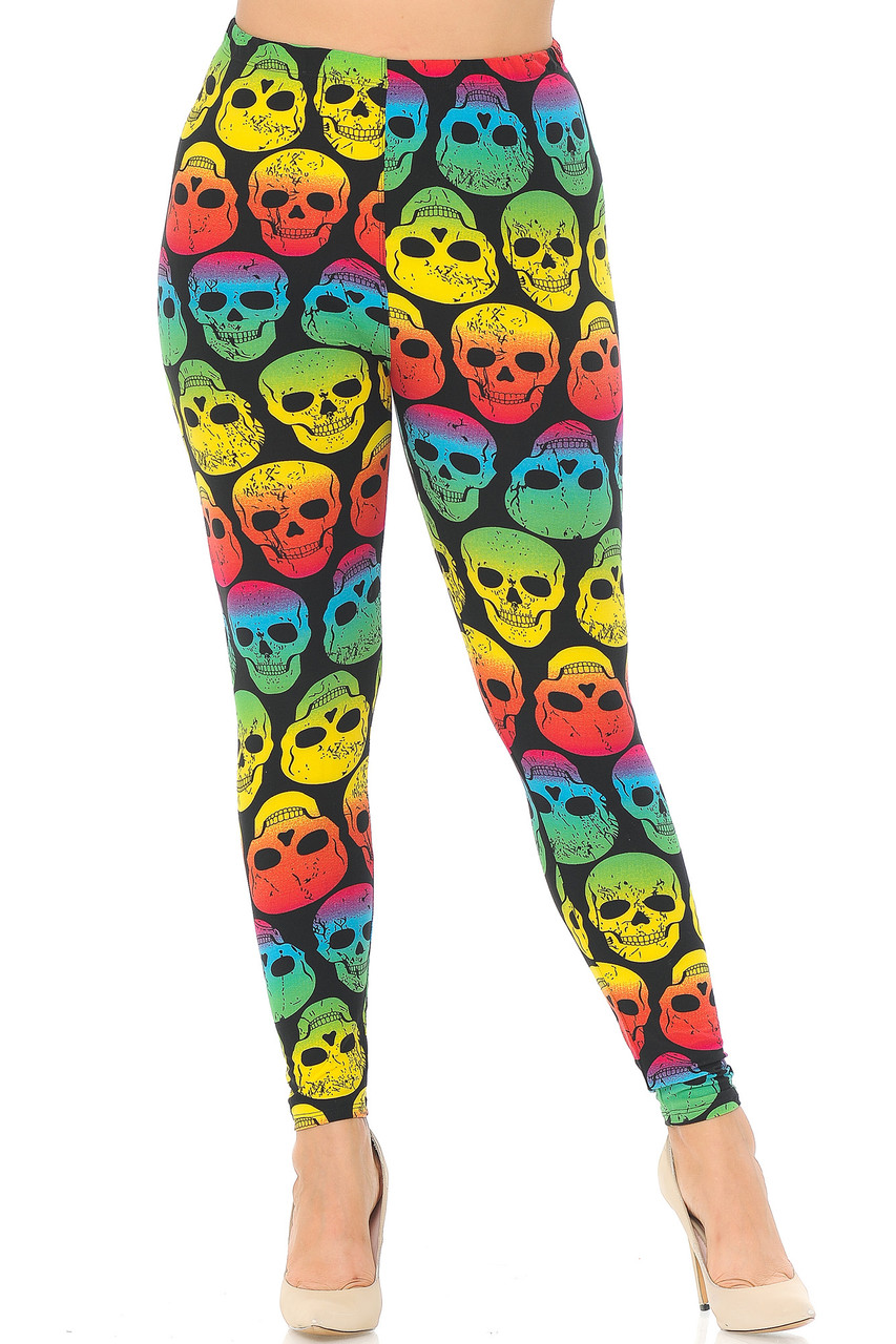 Front view of our full length Buttery Soft Rainbow Skull Plus Size Leggings that pair well with a simple black or white top.